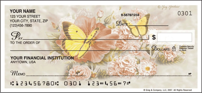 Butterfly Blooms Side Tear Checks - click to view larger image