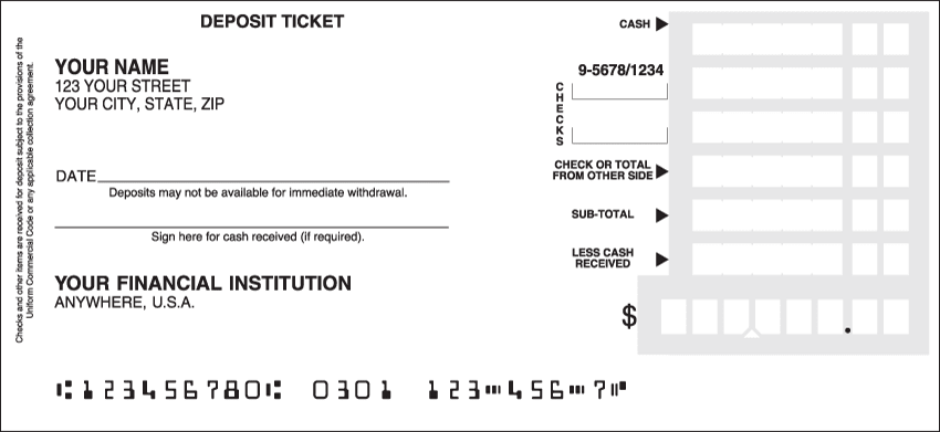 Deposit Slips - click to view larger image