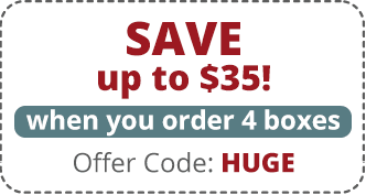 Save up to $35! when you order 4 boxes. Offer Code: HUGE
