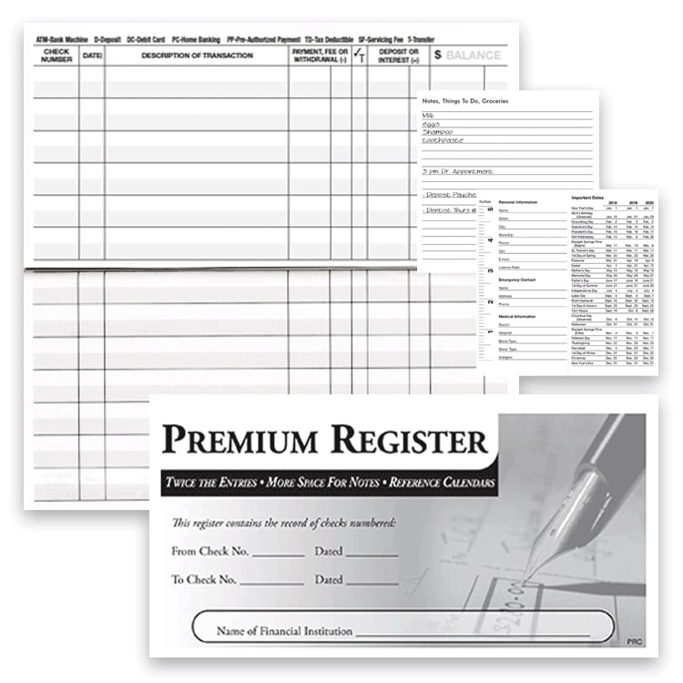 3-pack Premium Check Registers - click to view larger image