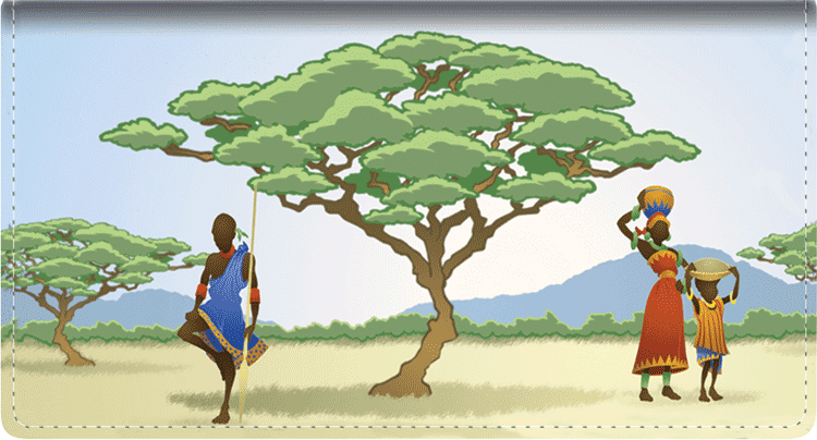 African Silhouettes Side Tear Checkbook Cover