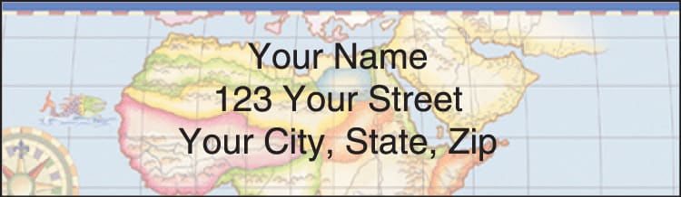 antique maps address labels - click to preview