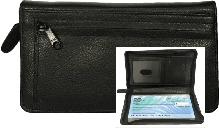 Black Zippered Leather Checkbook Organizer - click to view larger image