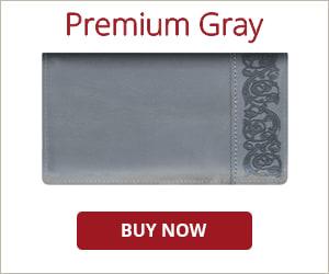 Premium Gray Checkbook Cover